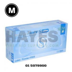 SemperCare Edition Latex Gloves Powder Free MEDIUM (100) Box