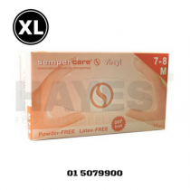 SemperCare Vinyl Gloves Latex Free Powder Free EXTRA LARGE (90) Box