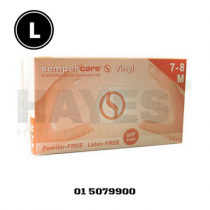 SemperCare Vinyl Gloves Latex Free Powder Free LARGE (100) Box