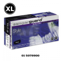 Semperguard Black Nitrile Disposable Gloves Powder Free EXTRA LARGE (90) Box