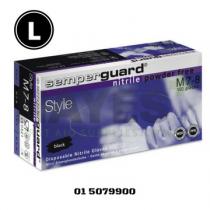 Semperguard Black Nitrile Disposable Gloves Powder Free LARGE (100) Box