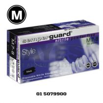 Semperguard Black Nitrile Gloves Powder Free MEDIUM (100) Box